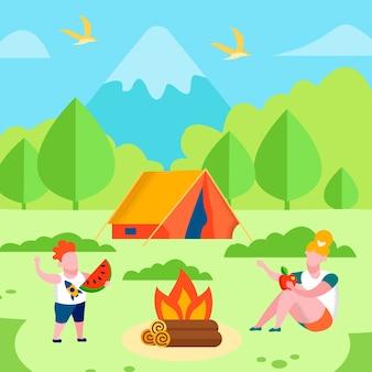 Fratello sorella su picnic recreation promo banner