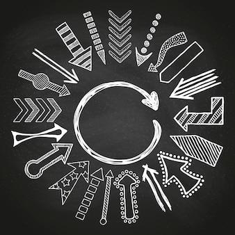 Frecce bianche schizzate disegnate a mano