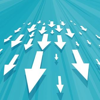 Frecce che si muovono verso il basso la progettazione del concetto di business