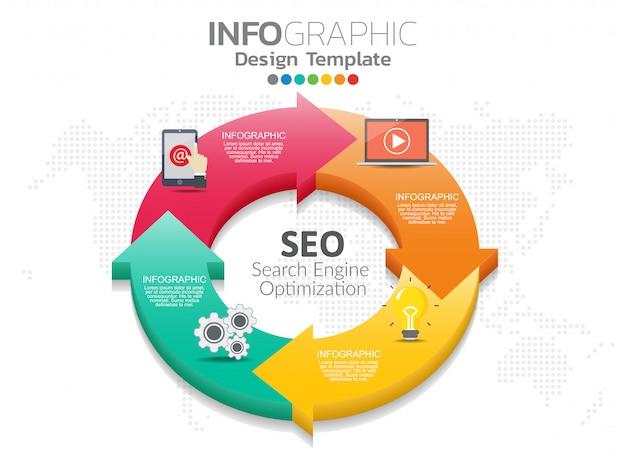 Frecce circolari per infografica. grafico, grafico, diagramma con 4 passaggi