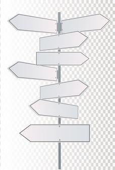 Frecce dei segnali stradali di direzione su cielo blu. illustrazione.