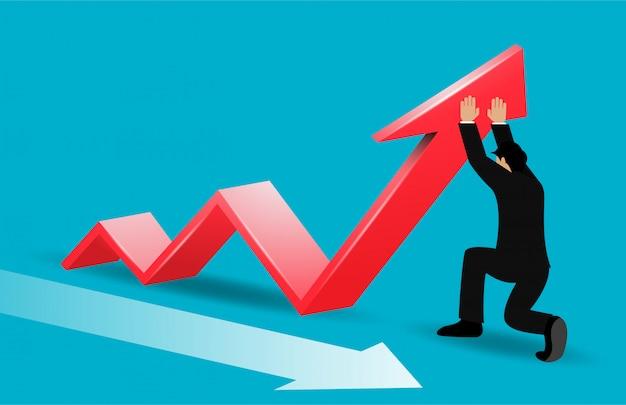 Frecce di direzioni cambianti dell'uomo d'affari rosse allo scopo