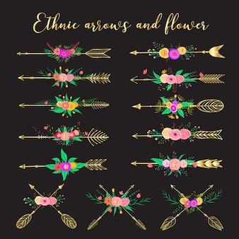 Frecce etniche e fiori, piume e fiori stile boho.