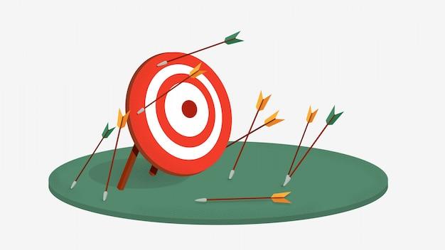 Frecce falliscono sfida bersaglio. bersaglio rosso con frecce coppia coppia frecce mancanti.