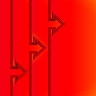 Frecce in aumento colorate con strati di carta tagliata rossa