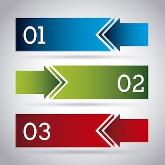 Frecce infografica su sfondo grigio