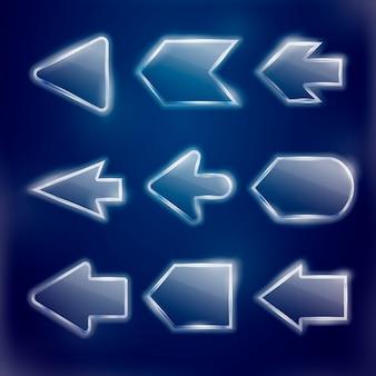 Frecce traslucide tecniche impostate su sfondo blu