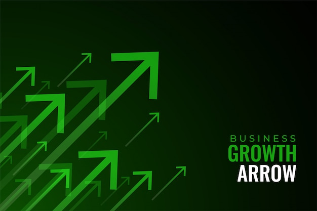 Frecce verdi verso l'alto della crescita delle vendite aziendali