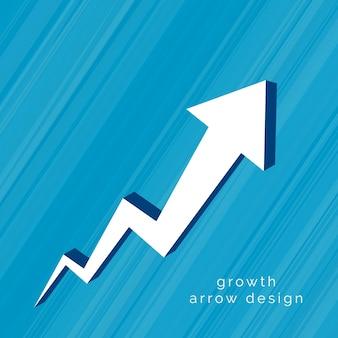 Freccia 3d che si muove verso l'alto design