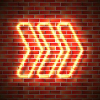 Freccia al neon sul muro