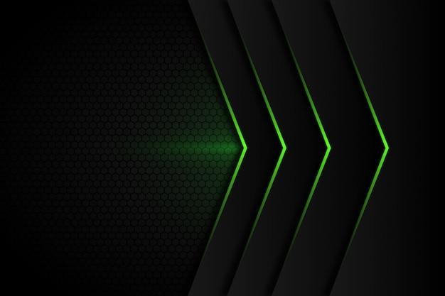 Freccia astratta della luce verde sul fondo futuristico moderno grigio scuro di progettazione dello spazio
