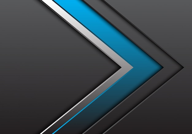 Freccia blu argento grigio con sfondo di direzione spazio vuoto.