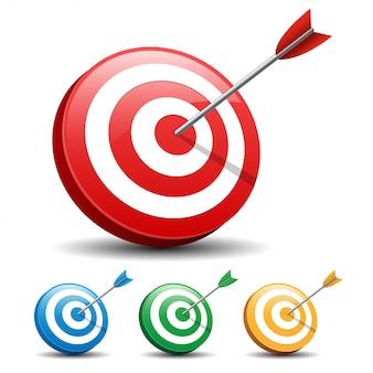 Freccia che colpisce un obiettivo su sfondo bianco