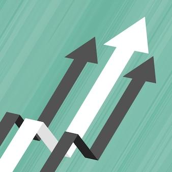 Freccia che si muove verso l'alto il concetto di business concept di leadership