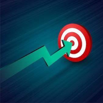 Freccia che si muove verso lo sfondo degli affari target