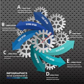 Freccia con ruota dentata per la progettazione di presentazione infografica.