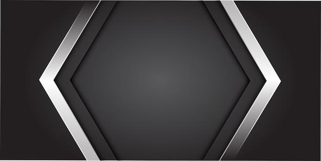 Freccia d'argento su grigio con sfondo centro spazio vuoto.