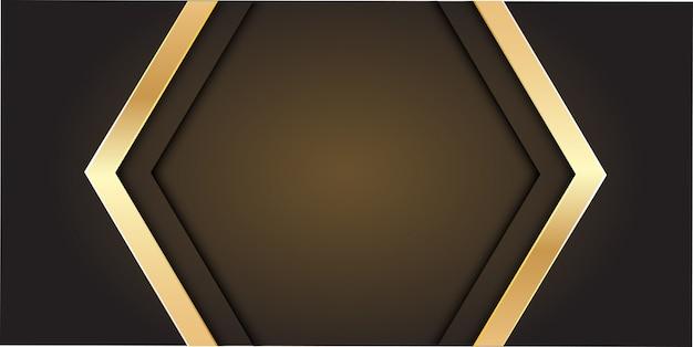 Freccia d'oro su sfondo grigio con spazio vuoto centro.
