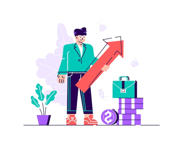 Freccia della tenuta dell'uomo di affari che indica a destra su che indica successo. illustrazione piatta. illustrazione di stile moderno design piatto per pagina web, carte, poster, social media.
