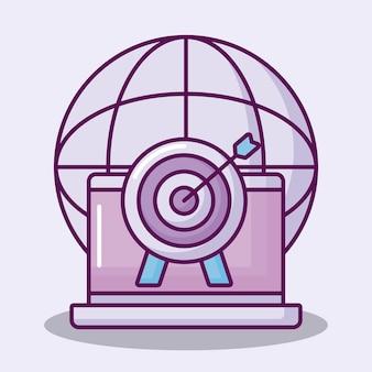 Freccia di destinazione con icone set