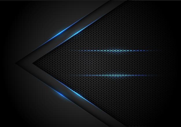 Freccia di luce blu su sfondo nero con esagono mesh.