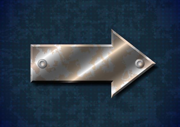 Freccia di metallo arrugginito con rivetti su sfondo sgangherata