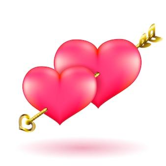 Freccia e cuori dell'oro di san valentino.