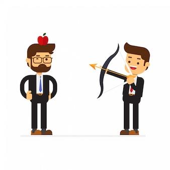 Freccia e freccia della tenuta dell'uomo d'affari
