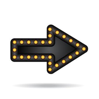 Freccia elettronica al neon incandescente con lampade. puntatore barra, festa o vacanza. vettore