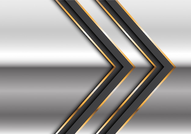 Freccia gemellata astratta della linea dell'oro nero sull'illustrazione futuristica moderna di vettore del fondo di progettazione d'argento.