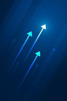 Freccia leggera sul circuito su fondo blu scuro con l'illustrazione della copia dello spazio della copia, concetto di crescita di affari.
