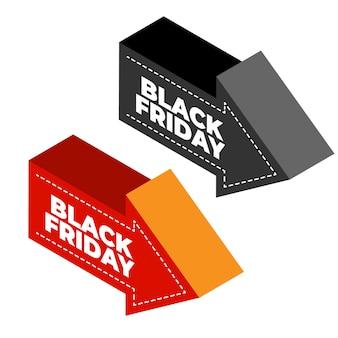 Freccia nera venerdì in design isometrico