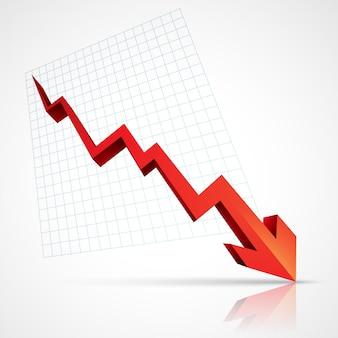Freccia rossa che punta verso il basso che mostra la crisi