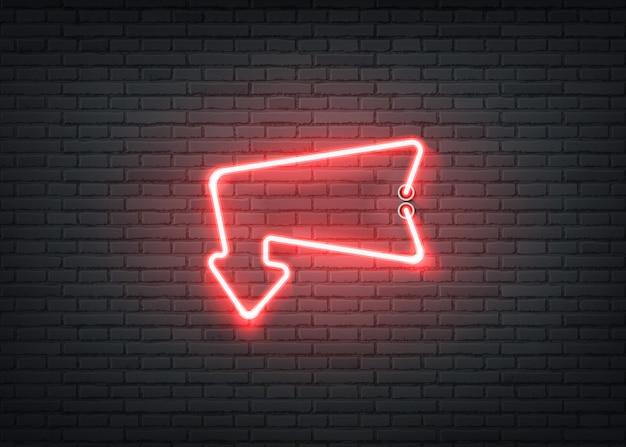 Freccia rossa dell'entrata al neon per il night-club della barra