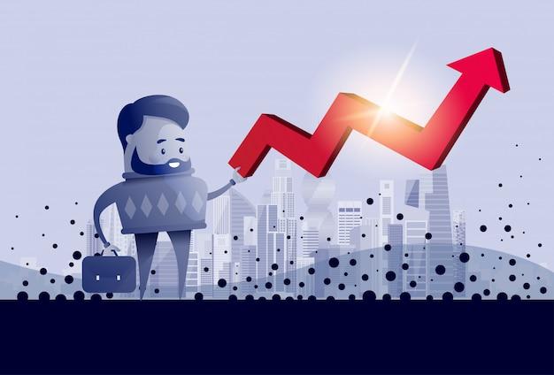 Freccia rossa della tenuta dell'uomo di affari sul concetto finanziario di successo