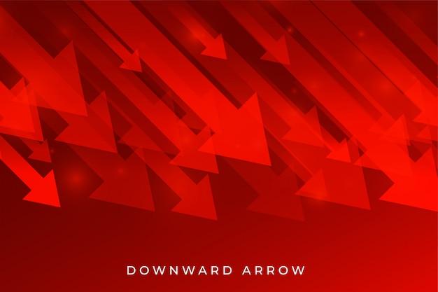 Freccia rossa di caduta di affari che mostra tendenza al ribasso