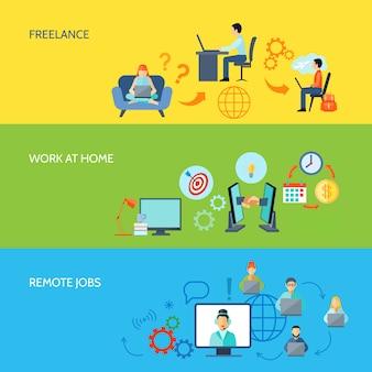 Freelance lavoro online a casa e lavori a distanza banner a colori piatto