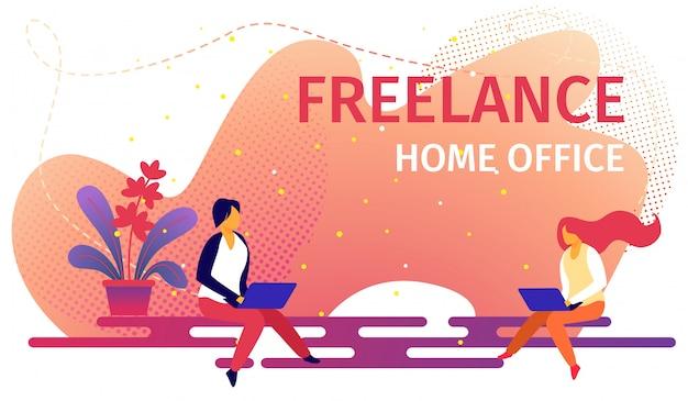 Freelancer uomo e donna che lavorano da laptop.