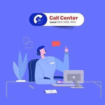 Friendly man call center service rispondi alla domanda