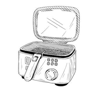 Friggitrice realistica su sfondo bianco. illustrazione