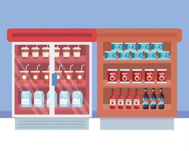 Frigorifero da supermercato con ripiano e prodotti