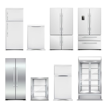 Frigorifero frigorifero set realistico di armadi isolati con diversi modelli e forme di porta in bianco