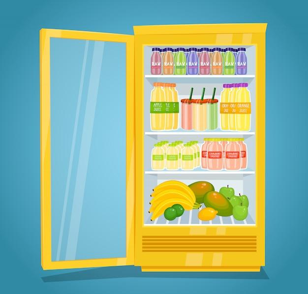 Frigorifero pieno di prodotti a base di frutta cruda