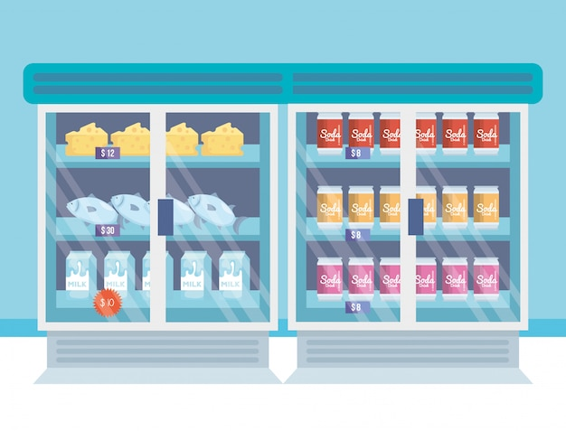 Frigorifero supermercato con prodotti