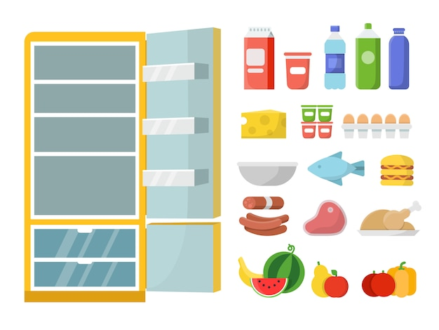 Frigorifero vuoto e cibo diverso. illustrazioni vettoriali piatte. frigorifero e cibo fresco, bottiglia di latte e carne, verdura e frutta