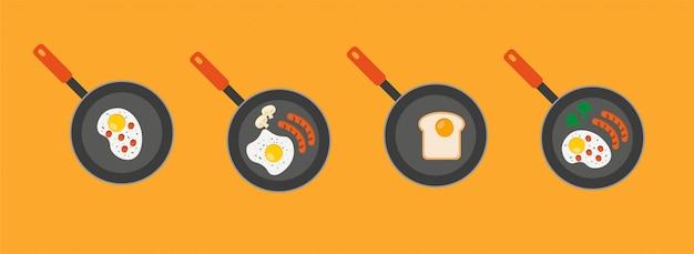 Frittata in una padella. illustrazione piana dell'uovo sull'icona di vettore della piastra per il web design
