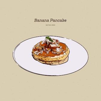 Frittelle con banana, noci e caramello, schizzo di tiraggio della mano.