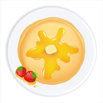 Frittelle con olio, miele e fragole, su sfondo bianco, illustrazione