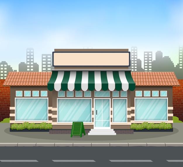 Frontale del negozio di design piatto con il posto per il nome del negozio