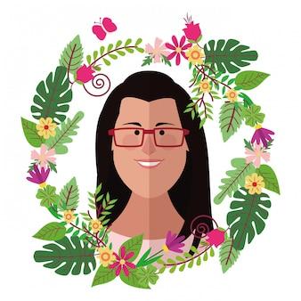 Fronte della donna con i cartoni animati della corona floreale variopinti